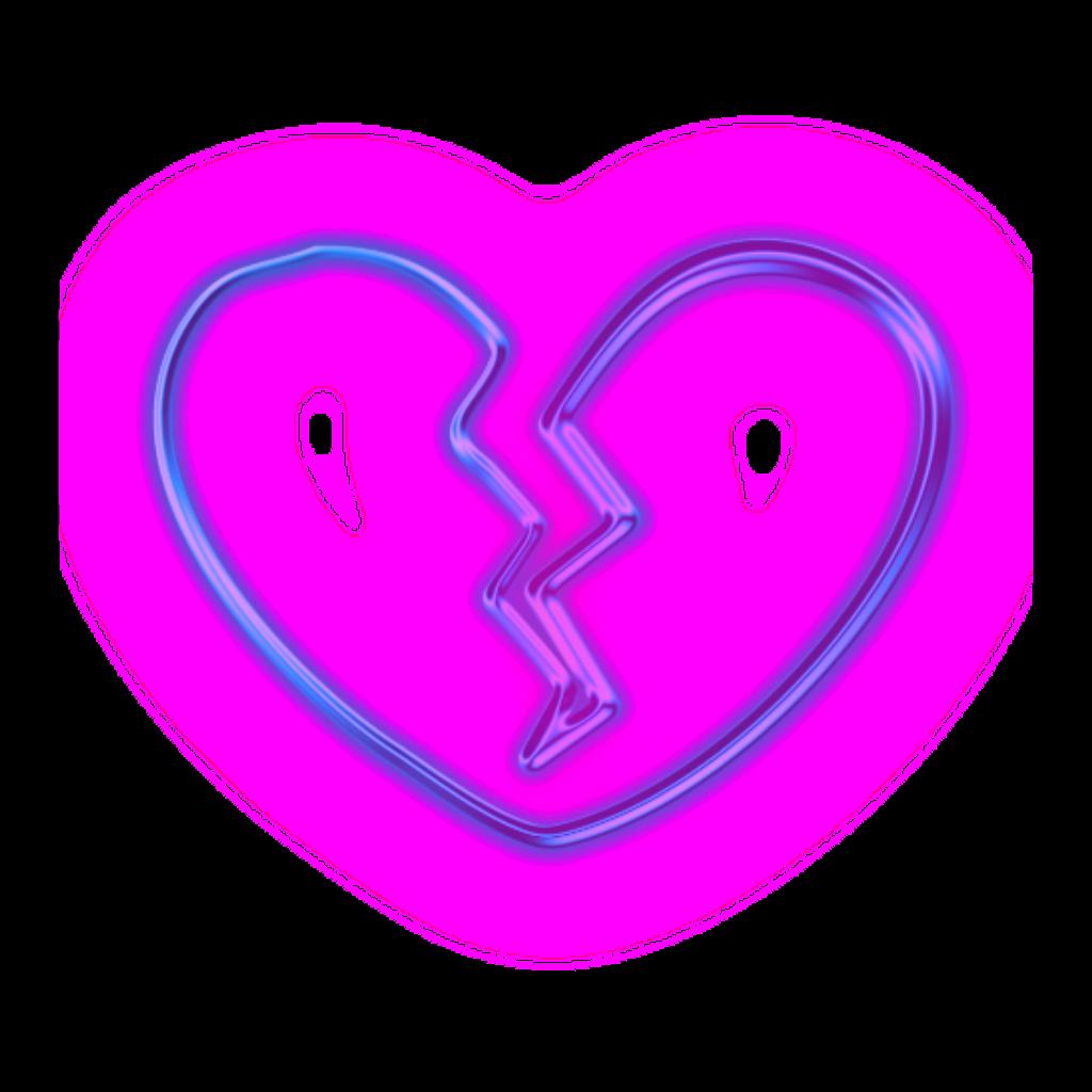 neon lights brokenheart heart purple pink freetoedit