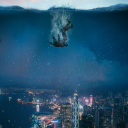 freetoedit underwater fall person city ecunderwater