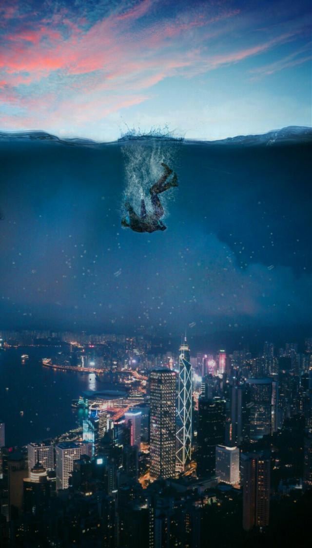 @picsart #underwater#fall#person#city#water #ecunderwater