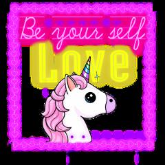 unicorn neon beyourself frame love freetoedit