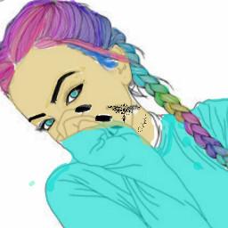 freetoedit colorfulhair rainbow tumblrgirls tattoo dccolorfulhair