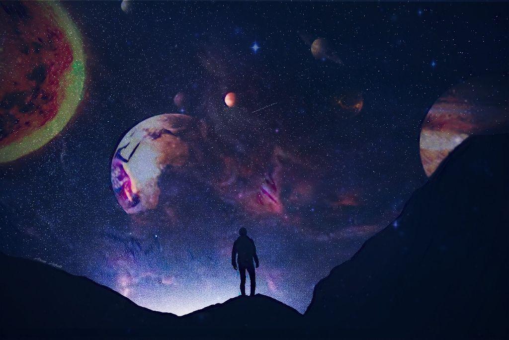 #freetoedit @pa @freetoedit #planet #space #galaxy #mountain #silhouette #people #sky