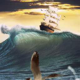 freetoedit wave ship seagull water ftestickers