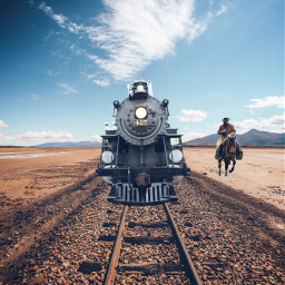 editbyme picsart train cowboy west freetoedit