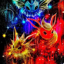 freetoedit pokemon stars vaporeon flareon
