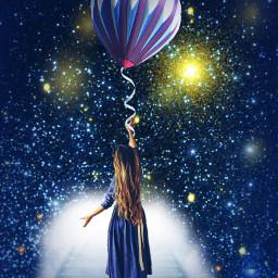 balloon nightsky stars imagination reach ircflyinhigh freetoedit