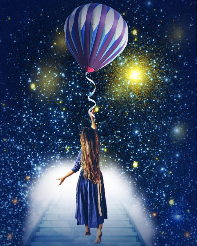 """In My Dreams"" - - #balloon #nightsky #stars #imagination #reach #ircflyinhigh #freetoedit"