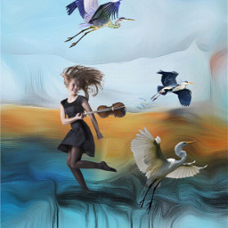 freetoedit heron girl violin myedit