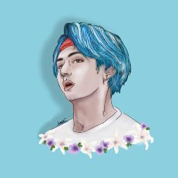 dccolorfulhair colorfulhair taehyung bluehair
