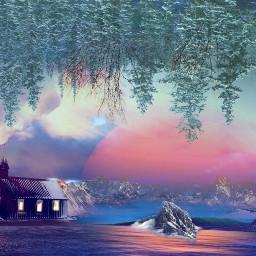 freetoedit winter 2019 house mountains
