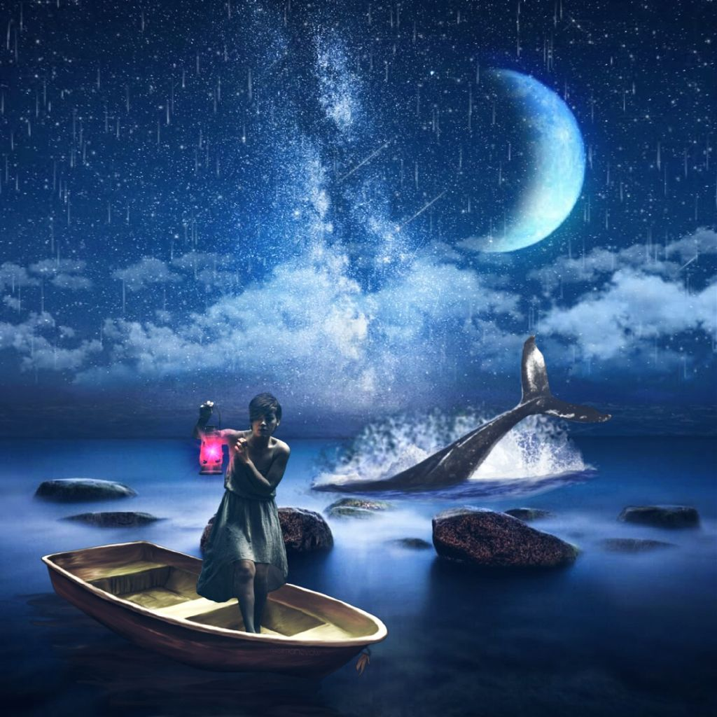 #editbyme #woman #picsart #boat #shark #moon #night
