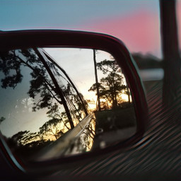 sunset automobile rearviewmirror reflection mirror