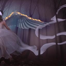 fantasy woman angel dark photomanipulation