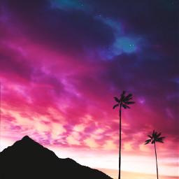 sunset sky stars colors pink