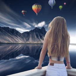 freetoedit fantasy girl mountains river