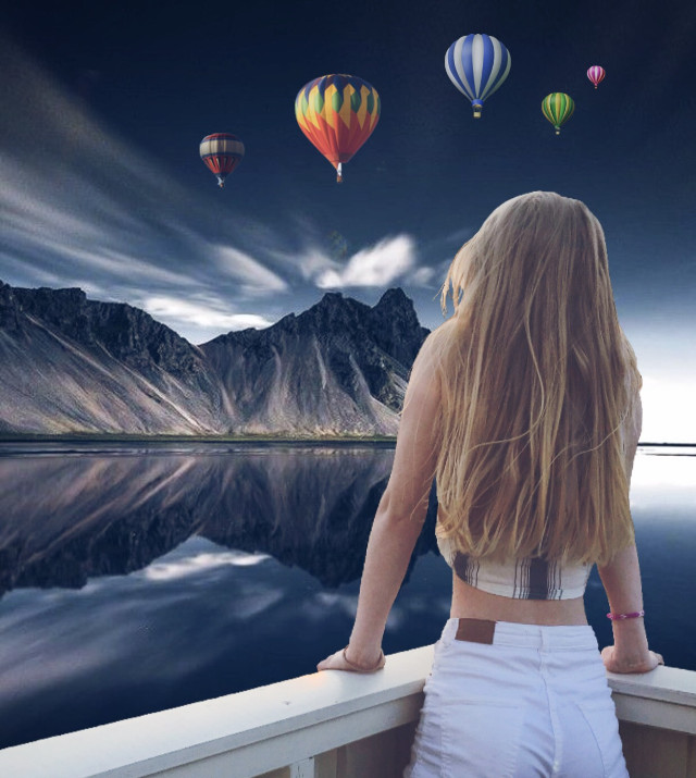 #freetoedit #fantasy #girl #mountains #river #sea #clouds #sky #balloon #amazing #travel