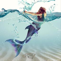 mermaid art girl water sea freetoedit