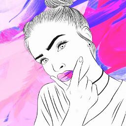 outline art artistic pink blue freetoedit