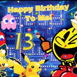 happybirthdaytome pacman emolga pichu pikachu freetoedit