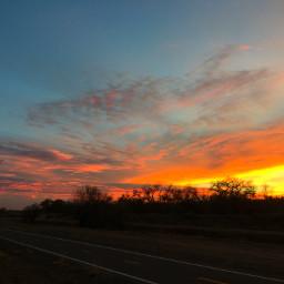 sunset firesky pinkclouds bright blueskyandclouds