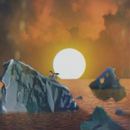 hopeyoulikeit freetoedit sunset penguins sun ftestickers