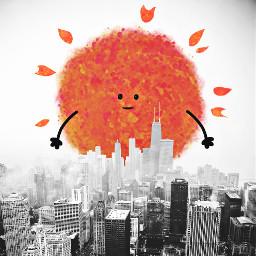 freetoedit sun illustration chicago skyline