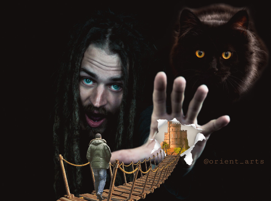 #freetoedit #man #hand #cat #bridge #imagination #fantasy #castle #black #mysterious #eyes #picsart @picsart