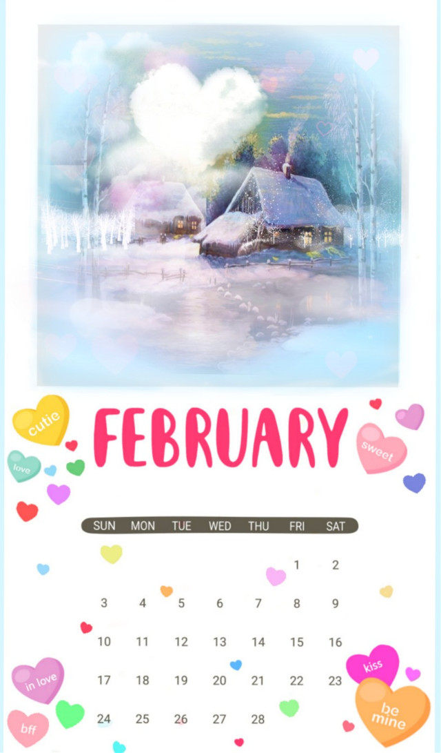 #freetoedit #dailyremixmechallenge #february #calendar #winterscenery #hearts #bokeh #heartbrush #picsarteffects #myedit #madewithpicsart