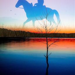 freetoedit cowboy horse rider sunset