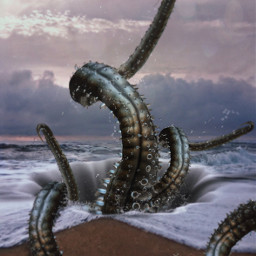freetoedit tentacles hole beach water ftestickers