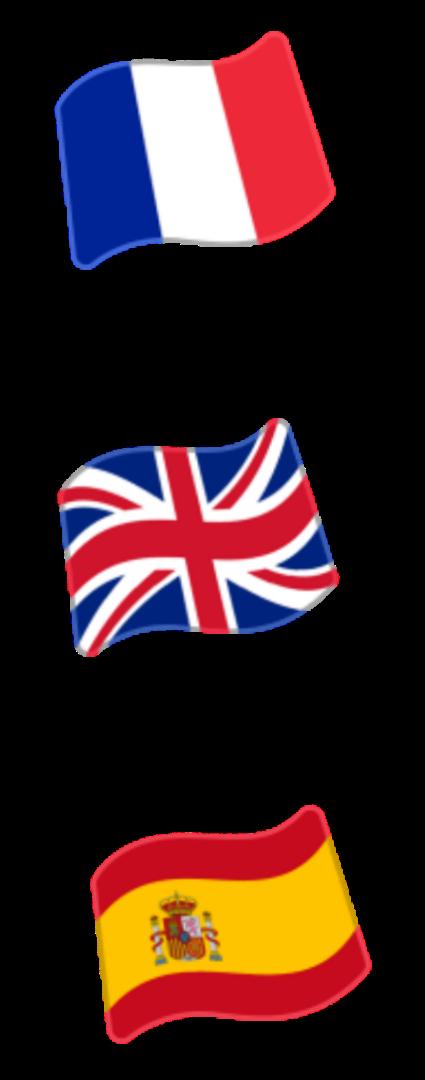 Resultado de imagen de drapeaux español anglais français