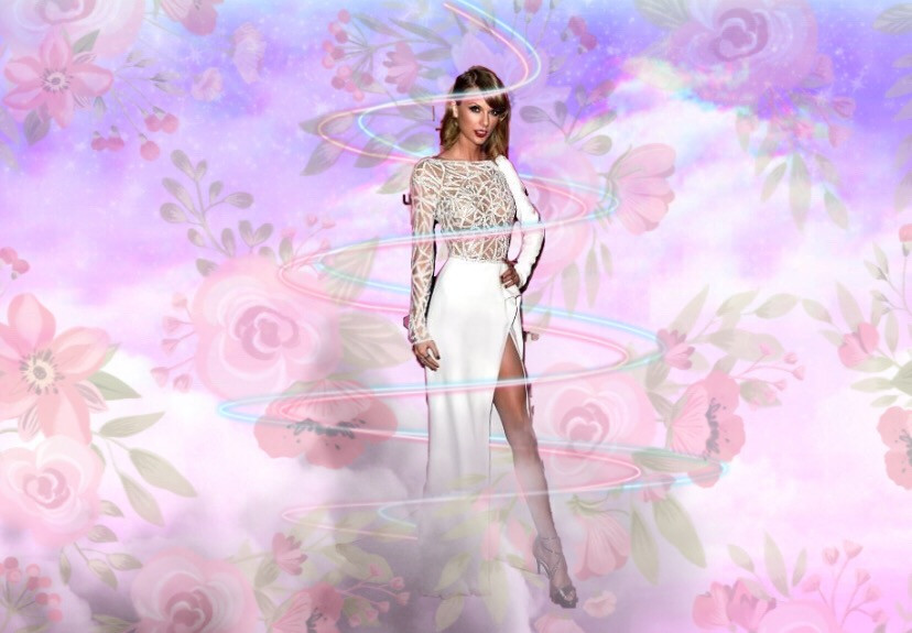 #freetoedit  #talorswift #pink #flowerpattern #girl #clouds