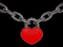 heart chain red padlock lock