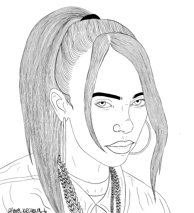 Billie eilish y'alls!!♥️ cant wait for her new album!! Im LOVING bury a friend!!🌹 #billieeilish #billieeilishoutline #lineart
