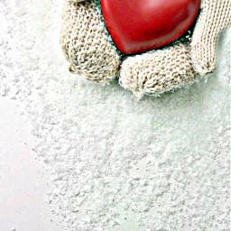 freetoedit heart hands snow gloves
