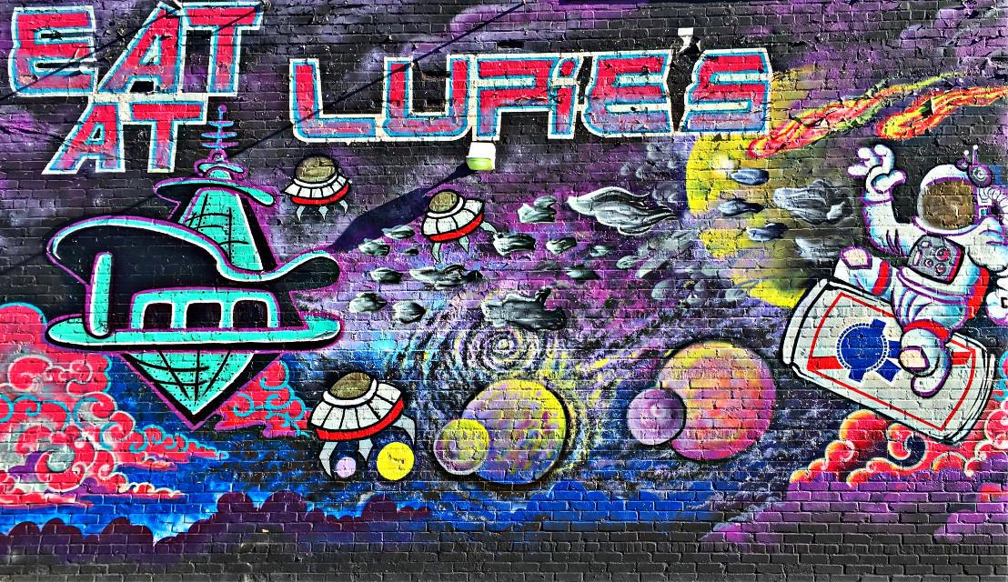 #graffiti #art #restaurant #cafe #café #space #street #streetart #interesting #ufo #alien #astronaut #rocket #stars #colorful #paint #spraypaint #freetoedit #pcgraffiti