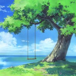 anime animebackground tree cliff swing freetoedit