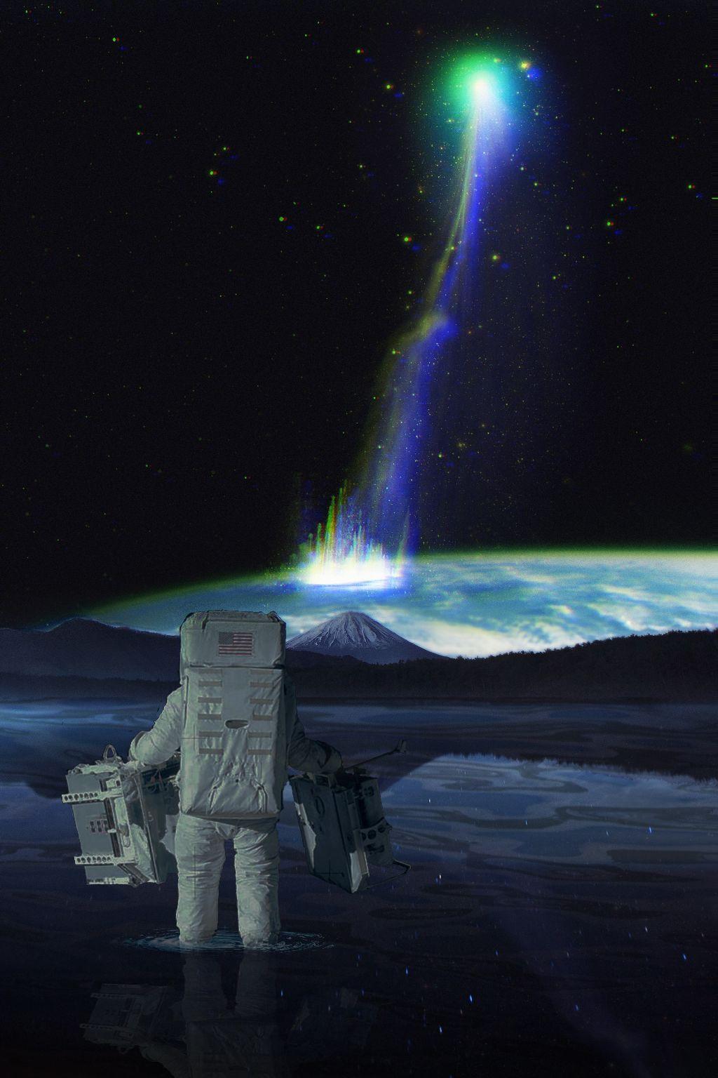#freetoedit #astronaut #water #space  #earth #light #ftestickers #background #glitcheffect #picsarteffects #picsart #remixed #remixme #remixit