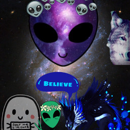freetoedit aliens wolves crazycuteghost