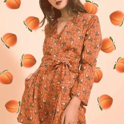 peach peaches red orange girl freetoedit