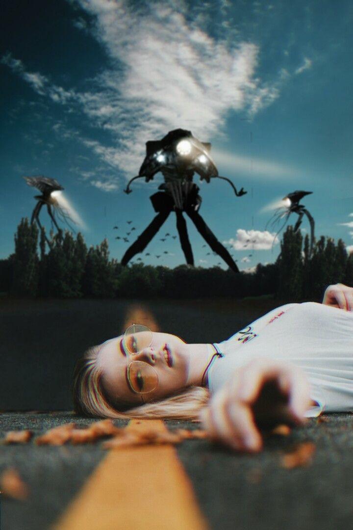 HELP 👽 #freetoedit #edit #picsart #madewithpicsart #alien #tripod #waroftheworlds #girl #street #surrealism #visualart #creative