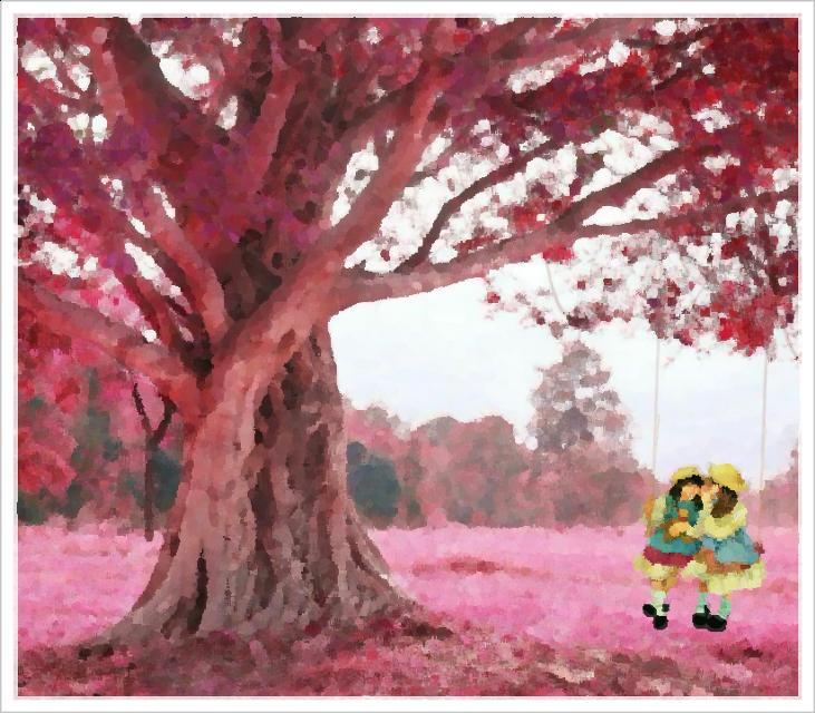 #freetoedit #girlonaswing #girls #swing #paint #oilpainteffect #friends #pink #tree #pinktree #littlegirl #littlegirls #sit #sitting