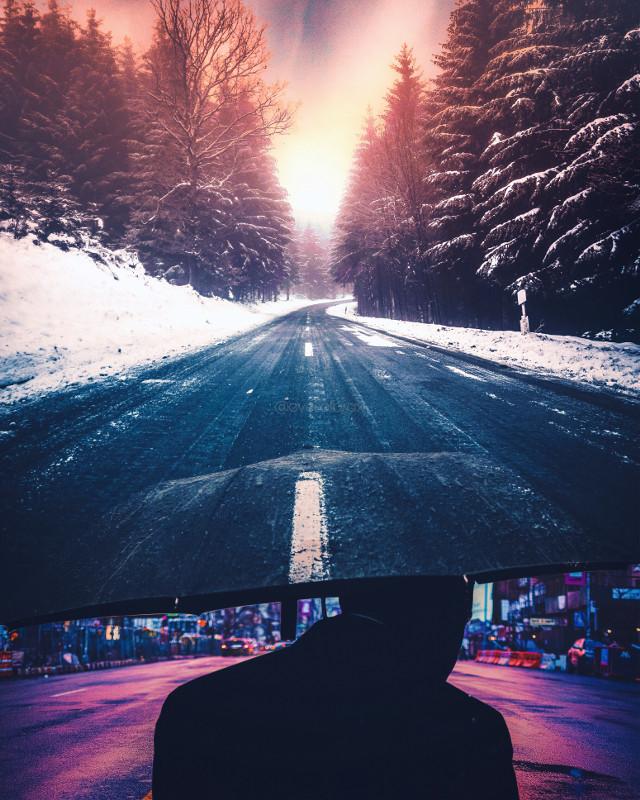 #road #street #winter #umbrella #trees #double #edit #photoshop #man #city #freetoedit #picsart #remixit #eyesofbrax #lightroom #blue #sun #light #silhouette #snow