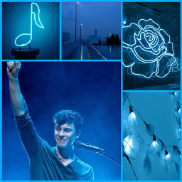 shawnmendes blue collage blueaesthetic teal aesthetic freetoedit