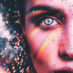 eye eyeball eyecloseup rainbow face freetoedit