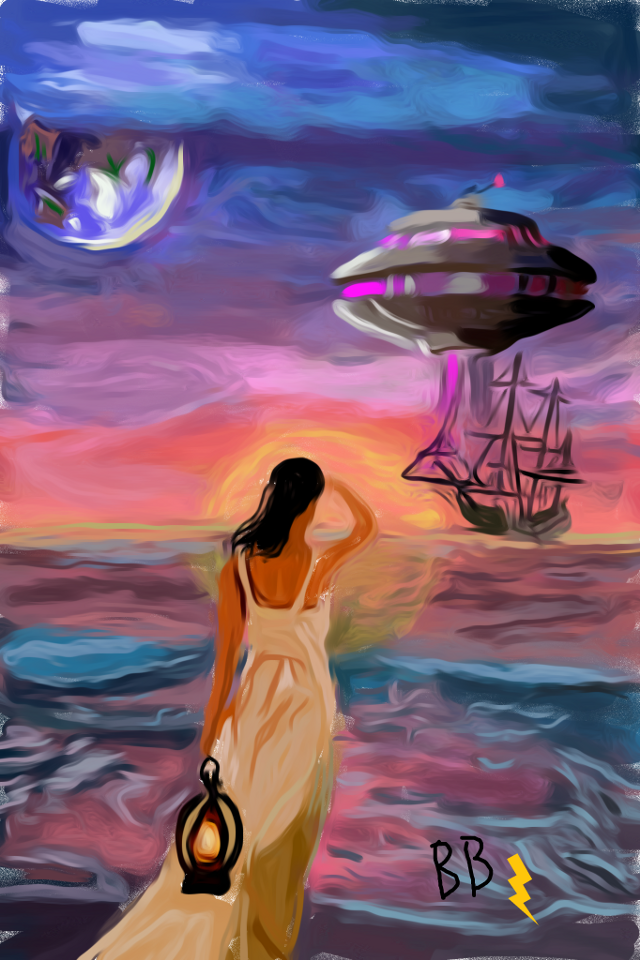 #freetoeditnot 5th place! #donotedit #dcspaceship #spaceship #planet #earth #beach #ocean #ship #woman #sunset #colorful #mydrawing Referenced from one of my edits. Only the initial layer was traced