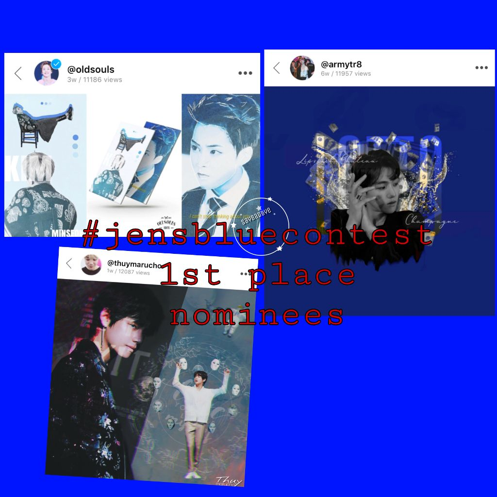 These are the people i really love! These edits are all amazing, but now its your turn to vote.  • These wonderful edits, reading from left to right, belong to: @oldsouls  @thuymarucho  @armytr8  Voting rules: • One vote per person on each post i have made for 1st 2nd and 3rd.  • The owners of the edits may not vote for themselves.  • Voting closes in 24 hours.  • Have fun, and know that you're awesome! ————————— 《3/2/19》9:35 am #jensbluecontest #voting #kpopcontest