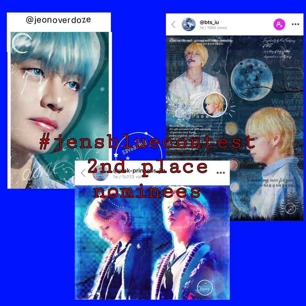 These are the people i really love! These edits are all amazing, but now its your turn to vote.  • These wonderful edits, reading from left to right, belong to: @jeonoverdoze  @pink-princess-jin  @bts_iu  Voting rules: • One vote per person on each post i have made for 1st 2nd and 3rd.  • The owners of the edits may not vote for themselves.  • Voting closes in 24 hours.  • Have fun, and know that you're awesome! ————————— 《3/2/19》9:35 am #jensbluecontest #voting #kpopcontest