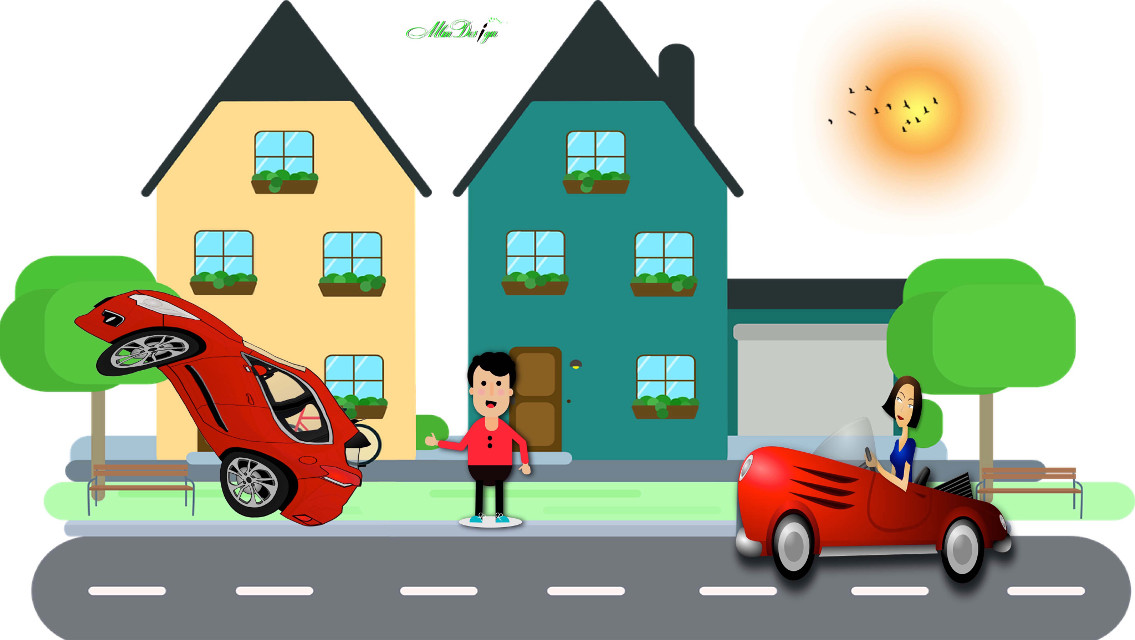 Hitchin a Ride  #illustration #adobeillustrator #vectorgtaphics #flatdesign #houses #city #street #cars #caraccident #badday