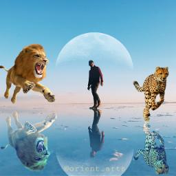 freetoedit moon leopard man lion